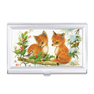 Cute Vintage Christmas Foxes Business Card Case
