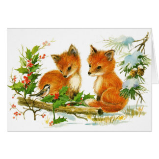Cute Vintage Christmas Foxes Card