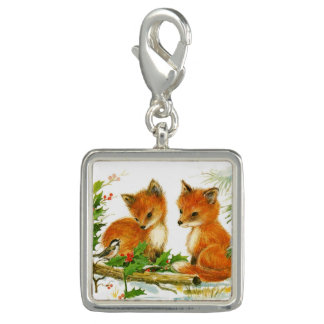 Cute Vintage Christmas Foxes Charm