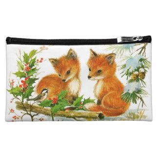 Cute Vintage Christmas Foxes Cosmetics Bags
