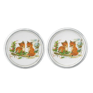 Cute Vintage Christmas Foxes Cuff Links