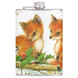 Cute Vintage Christmas Foxes Flasks