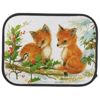 Cute Vintage Christmas Foxes Floor Mat