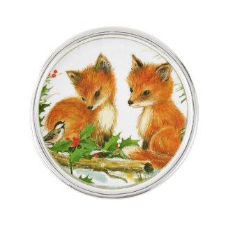 Cute Vintage Christmas Foxes Lapel Pin