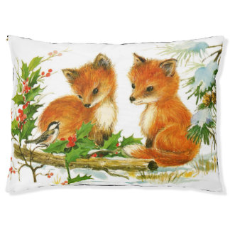 Cute Vintage Christmas Foxes Large Dog Bed