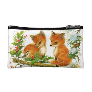 Cute Vintage Christmas Foxes Makeup Bags