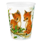 Cute Vintage Christmas Foxes Paper Cup