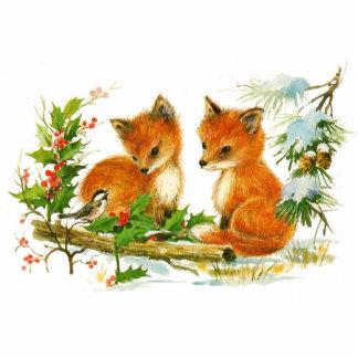 Cute Vintage Christmas Foxes Photo Sculpture Button