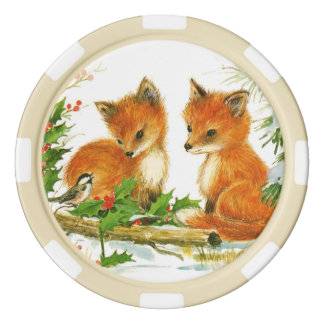 Cute Vintage Christmas Foxes Poker Chips