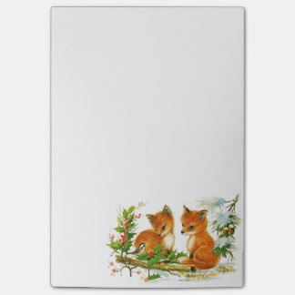 Cute Vintage Christmas Foxes Post-it® Notes