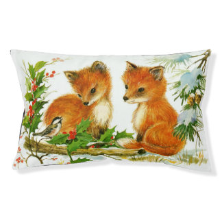 Cute Vintage Christmas Foxes Small Dog Bed