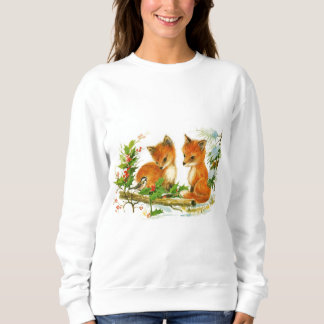Cute Vintage Christmas Foxes Sweatshirt