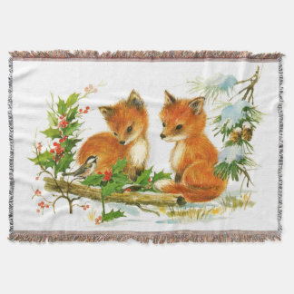 Cute Vintage Christmas Foxes Throw Blanket
