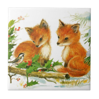 Cute Vintage Christmas Foxes Tiles