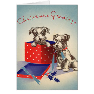 Cute Vintage Christmas Greetings Puppy Dogs Card