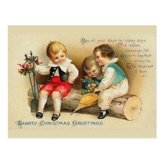 Cute Vintage Christmas Kids Postcard