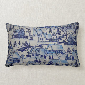 Cute Vintage Christmas Village Merry Xmas Holiday Lumbar Pillow