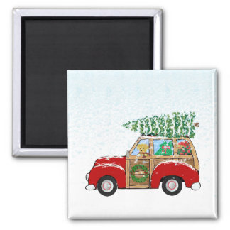 Cute Vintage Christmas Woody Wagon Square Magnet