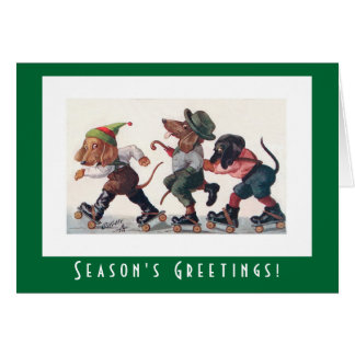 Cute Vintage Dachshund Dogs Christmas Card