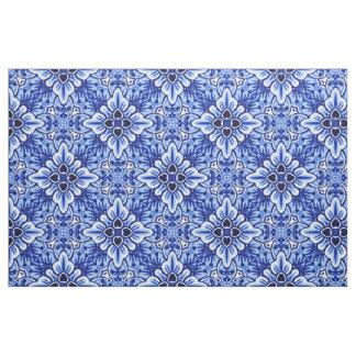 Cute Vintage Dutch Delft Blue Floral Pattern Fabric