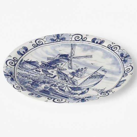 Cute Vintage Dutch Windmill Sailboat Delft Blue 9 Inch Paper Plate