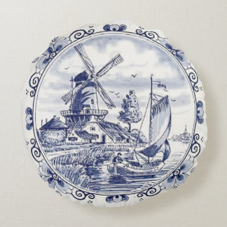 Cute Vintage Dutch Windmill Sailboat Delft Blue Round Pillow