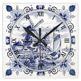 Cute Vintage Dutch Windmill Sailboat Delft Blue Square Wall Clock