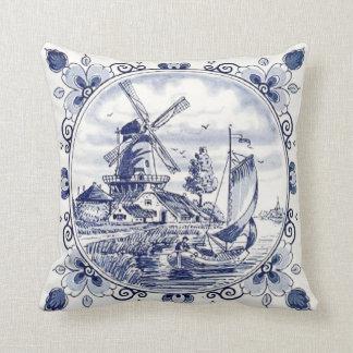 Cute Vintage Dutch Windmill Sailboat Delft Blue Throw Pillow
