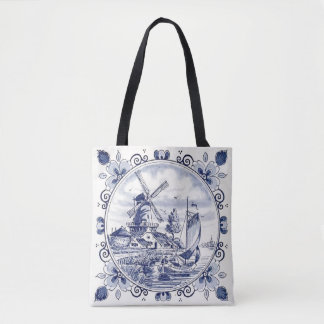 Cute Vintage Dutch Windmill Sailboat Delft Blue Tote Bag