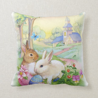 Cute vintage Easter bunnies Throw Pillow