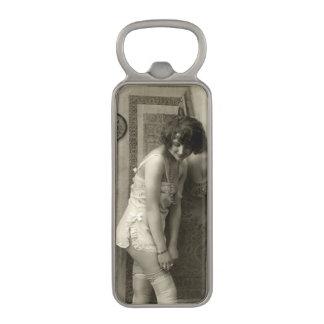 Cute Vintage Flirty Girl Magnetic Bottle Opener