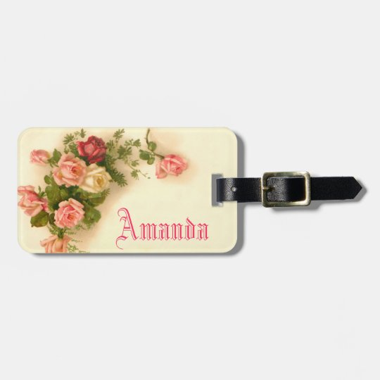 cute vintage floral,custom name tag