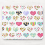 Cute Vintage Floral Hearts Quilt Pattern Mouse Pad