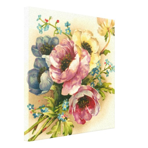 Cute vintage floral, home decor collections stretched canvas print