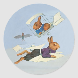 Cute Vintage Flying Bunny Rabbit - Anthropomorphic Classic Round Sticker