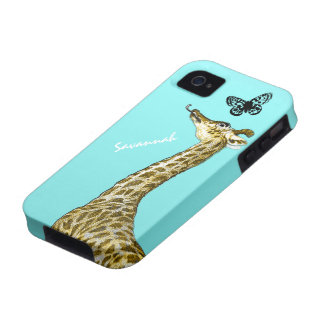 Cute Vintage Giraffe Licking a Butterfly on Aqua Vibe iPhone 4 Cover