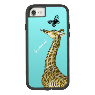 Cute Vintage Giraffe Licking a Butterfly on Aqua Case-Mate Tough Extreme iPhone 7 Case