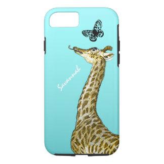 Cute Vintage Giraffe Licking a Butterfly on Aqua iPhone 7 Case