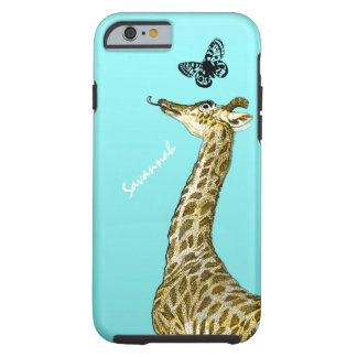 Cute Vintage Giraffe Licking a Butterfly on Aqua Tough iPhone 6 Case
