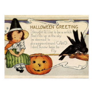 Cute Vintage Happy Halloween Greeting Postcard