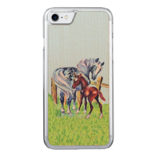 Cute Vintage Horses Mom Baby Carved iPhone 8/7 Case