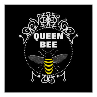 Cute Vintage Inspired Queen Bee Girly Fun Graphic Poster