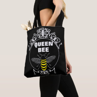 Cute Vintage Inspired Queen Bee Girly Fun Graphic Tote Bag