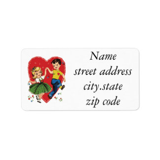 Cute vintage kids Valentine Label