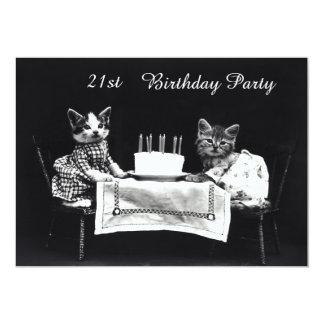 "Cute Vintage Kittens 21st Birthday Party 5"" X 7"" Invitation Card"
