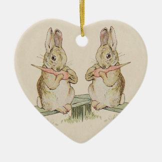 CUTE VINTAGE LOVE RABBITS, BUNNY HEART ORNAMENT