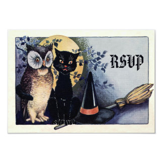 Cute Vintage Owl and Cat Halloween RSVP 3.5x5 Paper Invitation Card