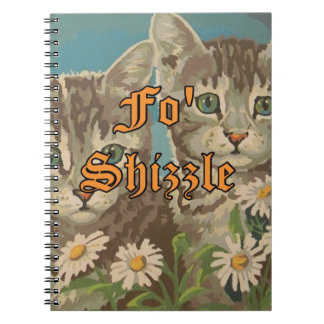 Cute Vintage PBN Cats and Daisies Notebook Funny