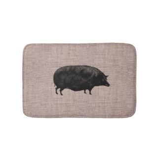 Cute Vintage Pig Rustic Faux Burlap Bath Mat