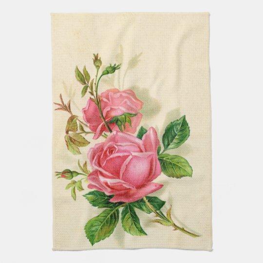 cute vintage pink roses kitchen towels